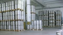 Forklift operator arrange keg pallet in warehouse. Timelapse Stock Footage