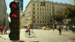 Panoramic shot of traffic lights in Vienna Stock Footage