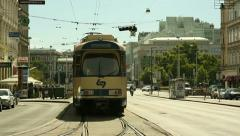 Traffic in Vienna . Tram and cars Stock Footage