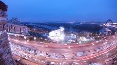 Night traffic near Zepter building to Zhivopisny bridge Stock Footage