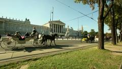 Tourism industry in Europe. Horse Carriage in Vienna Stock Footage