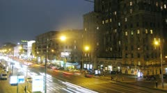 Night traffic on Mira prospekt and people crossing the street Stock Footage