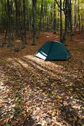 autumn camping - stock photo