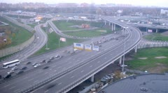 Traffic on Moscow ring auto road during the day. Timelapse Stock Footage