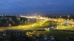 Traffic on illuminated moscow ring auto road. Timelapse Stock Footage