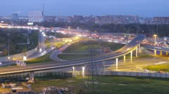 Zoom on Moscow ring auto road with traffic. Timelapse Stock Footage
