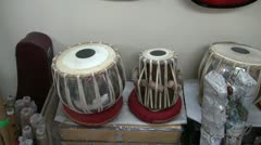 Indian musical instruments tabla drums in Delhi shop Stock Footage