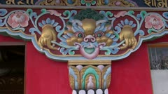 Buddhist temple painted  decoration in Dharamsala, India Stock Footage