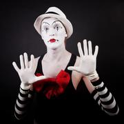 theater actor in makeup funny mime - stock photo