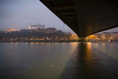 Bratislava castle and bridge Stock Photos