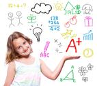 School girl with hand written school theme Stock Photos