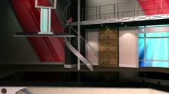 Virtual Set 12 - Balcony Newsroom Studio Background Shot - stock footage