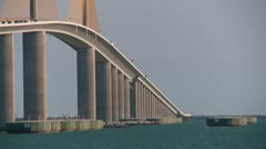 Sunshine Skyway Bridge with ship - stock footage