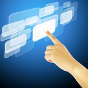 Hand pushing a button on a touch screen interface Stock Illustration