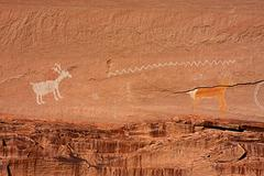 Ancient anasazi and navajo pictographs Stock Photos