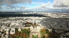 Panoramic View of Paris from Tour Eiffel Stock Footage