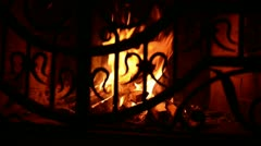 Grate of fireplace - stock footage