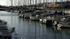 Marina with yachts and boats Stock Footage