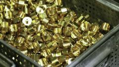 Boxes of brass parts Stock Footage