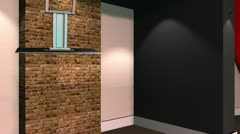 Virtual Set 12 - Brick Wall Newsroom Studio Background Shot - stock footage