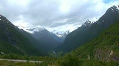 Norway Hellesylt - Geiranger Panoramic Stock Footage