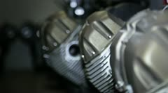 Engines of bike in warehouse Stock Footage
