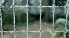 Wintry wire fence coated with hoar frost, Pacific Northwest Stock Footage