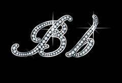 Script Diamond Bling Bb Letters - stock illustration