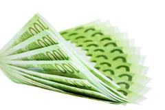 Hundred euro notes building a bent fan shape Stock Photos