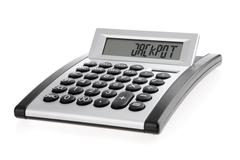 "Calculator displaying the word ""jackpot"" Stock Photos"