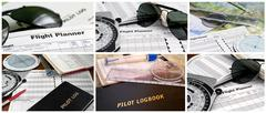 Collage of six aviation images Stock Photos