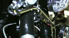 New motorcycle with engine chromed Stock Footage