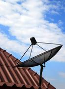 Black satellite dish on  house roof Stock Photos