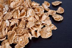 Cereal - wholegrain oat and wheat flakes Stock Photos
