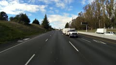Freeway Traffic - Rear View - 101 South Petaluma Truck and Trailer Stock Footage