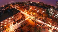 Night city traffic timelapse. Cars headlights traces. - stock footage