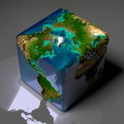 Cubic earth with translucent ocean Stock Illustration