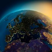 Night view of europe from the satellite Stock Illustration