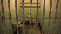 Prison jail cell tilt down Alcatraz Stock Footage