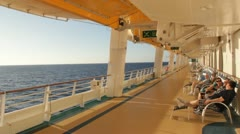 Stock Video Footage of HD Stock Footage 1080p - Cruise Ship passengers relaxe on deck