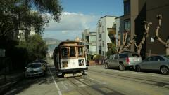 San Francisco trolley cable car running on a street slope hill Stock Footage
