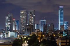 Ramat gan city at night. Stock Photos