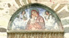 Fresco Holy Virgin Orthodox Close-Up Shot Stock Footage