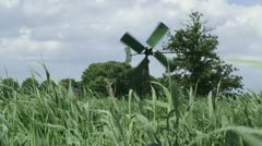 Drainage windmill in Dutch reed land Stock Footage