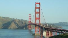 Golden Gate Bridge in San Francisco wide pan across Stock Footage