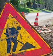 work in progress road sign - stock photo