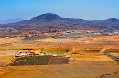 La oliva town and la arena volcano fuerteventura, canary islands, spain Stock Photos
