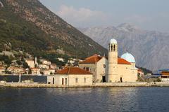 Island church in Perast, Boka Kotorska bay, Montenegro - stock photo