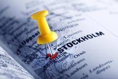 Thumbtack in a  map with a selective focus Stock Photos