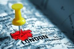 thumbtack in a  map - stock photo